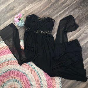 Black Strapless Beaded Prom Dress Size 6 Sheer